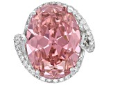 Pre-Owned Pink And White Cubic Zirconia Rhodium Over Sterling Silver Ring 20.35ctw