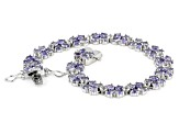 Pre-Owned Blue Tanzanite Rhodium Over Sterling Silver Bracelet 13.00ctw