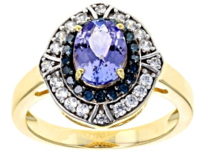 Pre-Owned Blue tanzanite 18k gold over silver ring 1.57ctw