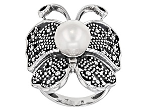 Pre-Owned Cultured Freshwater Pearl Rhodium Over Silver Butterfly Ring 9.5-10mm