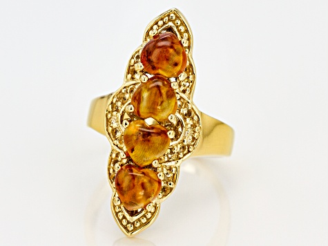 Pre-Owned Orange Amber 18k Gold Over Silver Ring .24ctw