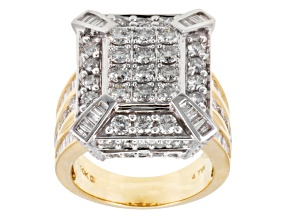Pre-Owned diamond 10k gold two tone ring 4.00ctw