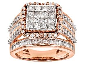Pre-Owned White Diamond 10k Rose Gold Ring 2.50ctw