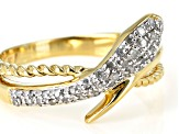 Pre-Owned White Diamond 14K Yellow Gold Over Sterling Silver Ring 0.20ctw