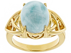 Pre-Owned Blue larimar 18k gold over silver ring