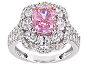 Pre-Owned Pink & White Cubic Zirconia Rhodium Over Sterling Silver Center Design Ring