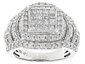 Pre-Owned White Diamond 10k White Gold Ring 2.20ctw