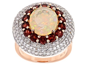 Pre-Owned White Diamond, Ethiopian Opal And Red Garnet 14k Rose Gold Ring 5.90ctw