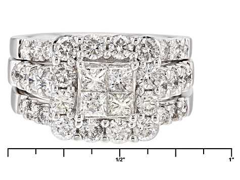 Pre-Owned White Diamond 14k White Gold Ring With 2 Matching Bands 3.00ctw