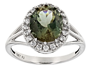 Pre-Owned Green Oregon Sunstone 10k White Gold Ring 2.80ctw