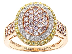 Pre-Owned Natural Pink, Yellow And White Diamond 10k Rose Gold Ring 1.00ctw
