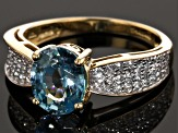 Pre-Owned Blue And White Zircon 10k Yellow Gold Ring 2.76ctw