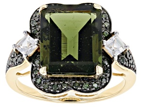 Pre-Owned Moldavite With Green Diamond 10k Yellow Gold Ring