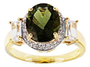 Pre-Owned Green Moldavite, White Zircon And White Diamond 10k Yellow Gold Ring 2.66ctw.