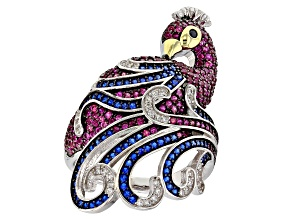 Pre-Owned White, Black, Red,& Blue Cubic Zirconia Rhodium Over Silver Peacock Ring 2.91ctw