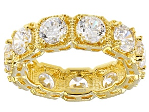 Pre-Owned White Cubic Zirconia 18K Yellow Gold Over Sterling Silver Band Ring 8.69ctw