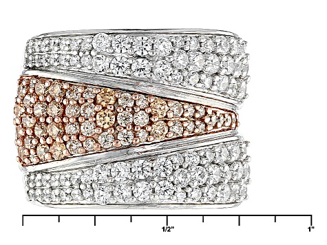 Pre-Owned Brown And White Cubic Zirconia Silver Ring 4.08ctw (2.07ctw DEW)