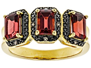 Pre-Owned Red garnet 18k gold over silver ring 1.81ctw