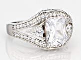 Pre-Owned White Cubic Zirconia Rhodium Over Sterling Silver Center Design Ring 5.30ctw
