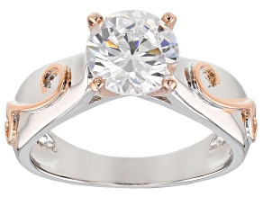 Pre-Owned White Cubic Zirconia 18K Rose Gold And Rhodium Over Sterling Silver Ring 3.30CTW