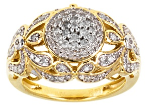 Pre-Owned Diamond 18k Yellow Gold Over Silver Ring .65ctw