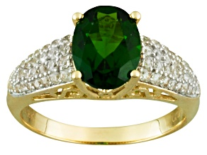Pre-Owned Green Chrome Diopside 10k Yellow Gold Ring 2.16ctw