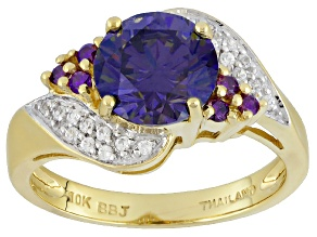 Pre-Owned  Fabulite Strontium Titanate, White Zircon And Diamond  10k Yellow Gold Ring 2.69ctw