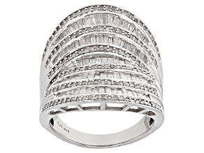 Pre-Owned White Diamond Rhodium Over Sterling Silver Ring 1.75ctw