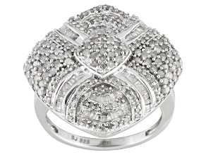 Pre-Owned 1.50ctw round, & baguette diamond, rhodium over sterling silver cocktail ring