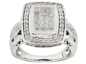 Pre-Owned Womens Cocktail Ring Genuine Diamond 1ctw Princess Cut Round Silver