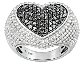 Pre-Owned Black Diamonds Sterling Silver Heart Ring 1.10ctw