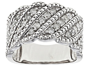 Pre-Owned White Diamond Rhodium over Sterling Silver Ring .76ctw