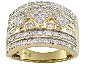 Pre-Owned .75ctw Round & Baguette Diamond, Engild™, 14k Yellow Gold Over Sterling Silver Ring