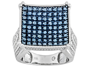 Pre-Owned Blue And White Diamond Sterling Silver Ring 1.50ctw
