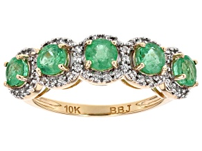 Pre-Owned Green Ethiopian Emerald 10k Yellow Gold Ring 1.43ctw