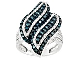 Pre-Owned Blue Diamond Sterling Silver Ring .50ctw