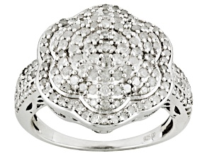 Pre-Owned Womens Pave Flower Ring Genuine Diamond 1ctw Round Sterling Silver
