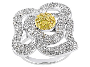 Pre-Owned 1.50CTW WHITE & YELLOW DIAMOND RHODIUM OVER STERLING SILVER RING