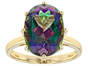 Pre-Owned Mystic Fire® Green Topaz 10k Yellow Gold Ring 6.25ct