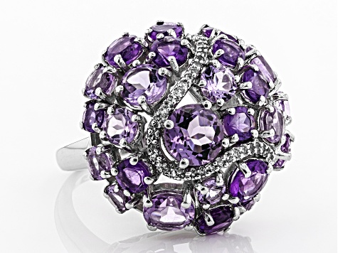 Pre-Owned Purple amethyst rhodum over silver ring 8.12ctw