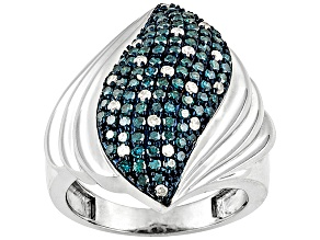 Pre-Owned Womens Waterfall Cocktail Ring Blue White Diamond 1ctw Sterling Silver