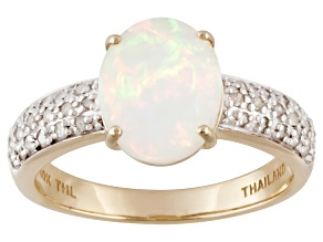 Pre-Owned Multi color Ethiopian opal 10k yellow gold ring 1.36ctw.
