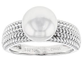Pre-Owned 10K 6.98CT RD WHITE CULTURED SOUTH SEA  PEARL RG  /SZ 8     /NOT SZBL /RHOD PLTD