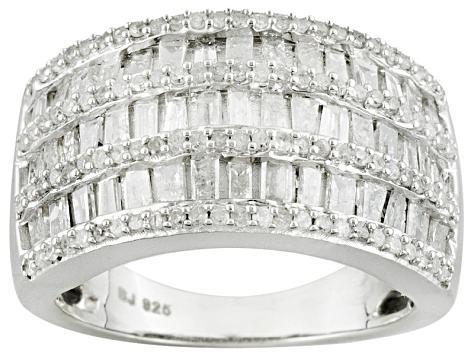 Pre-Owned White diamond silver band 1.75ctw