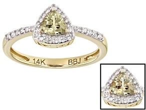 Pre-Owned Color Change Zultanite® And White Diamond 14k Yellow Gold Ring .53ctw