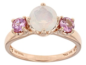 Pre-Owned Ethiopian Opal 14k Rose Gold Ring 1.24ctw