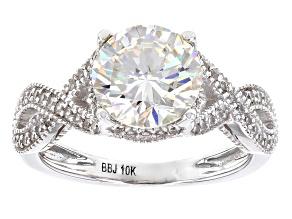 Pre-Owned White Fabulite Strontium Titanate 10k White Gold Ring 3.33ctw
