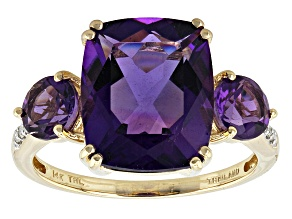 Pre-Owned Purple Urguayan Amethyst 14k Yellow Gold Ring 5.20ctw