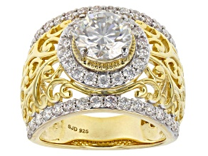Pre-Owned Moissanite 14k Yellow Gold Over Silver Ring 3.40ctw DEW