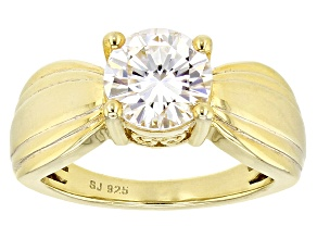 Pre-Owned Moissanite Ring 14k Yellow Gold Over Sterling Silver 2.04ct DEW